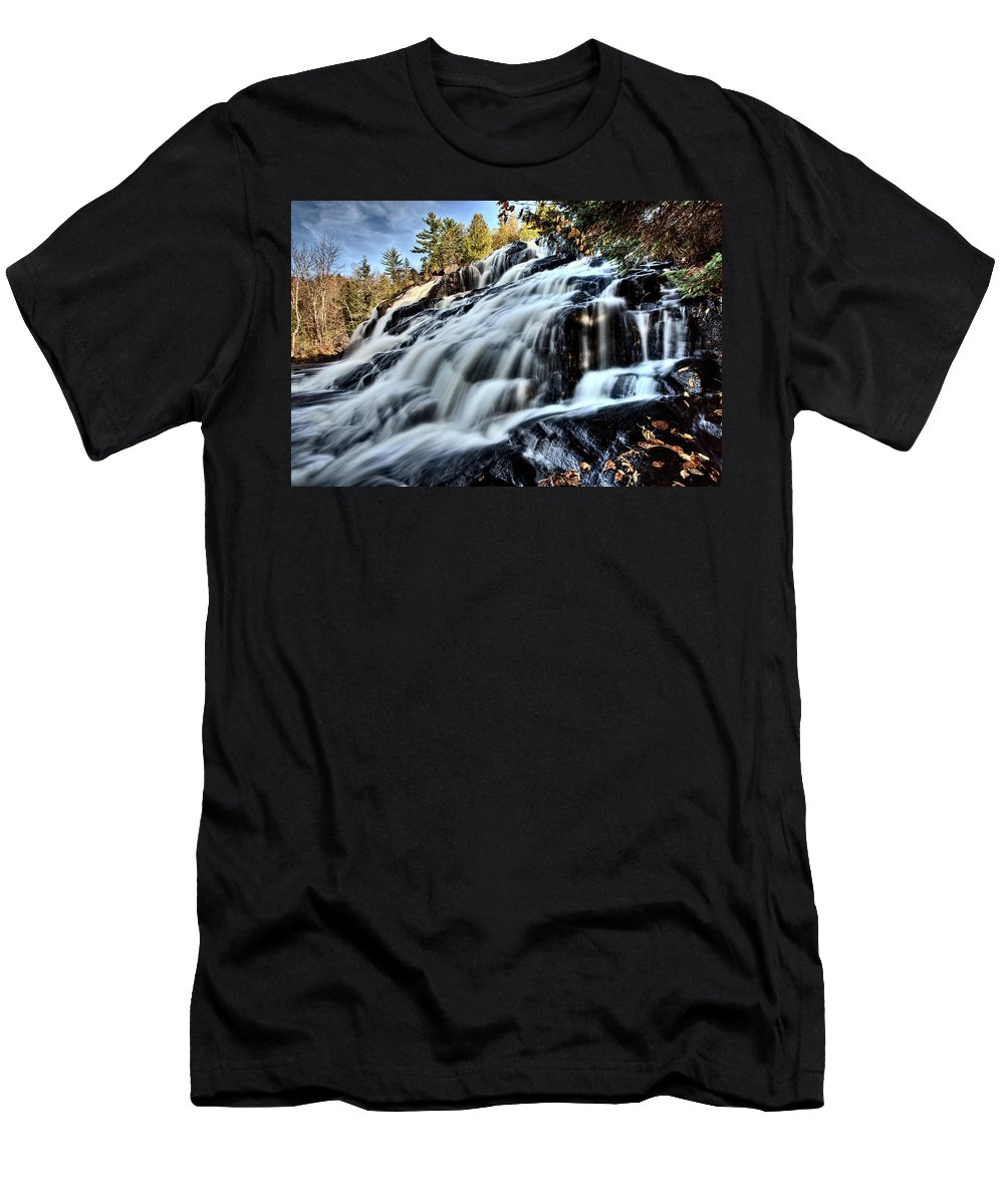Waterfall Men's T-Shirt (Athletic Fit) featuring the digital art Northern Michigan Up Waterfalls Bond Falls by Mark Duffy