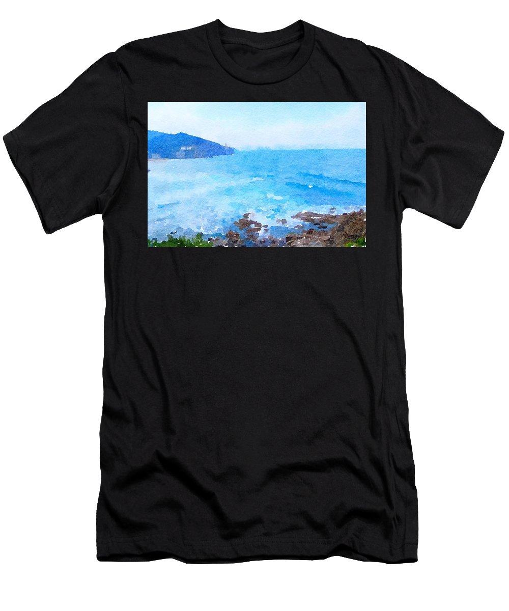 Ocean Men's T-Shirt (Athletic Fit) featuring the painting Ocean Coastline Watercolor by Leah Lambart