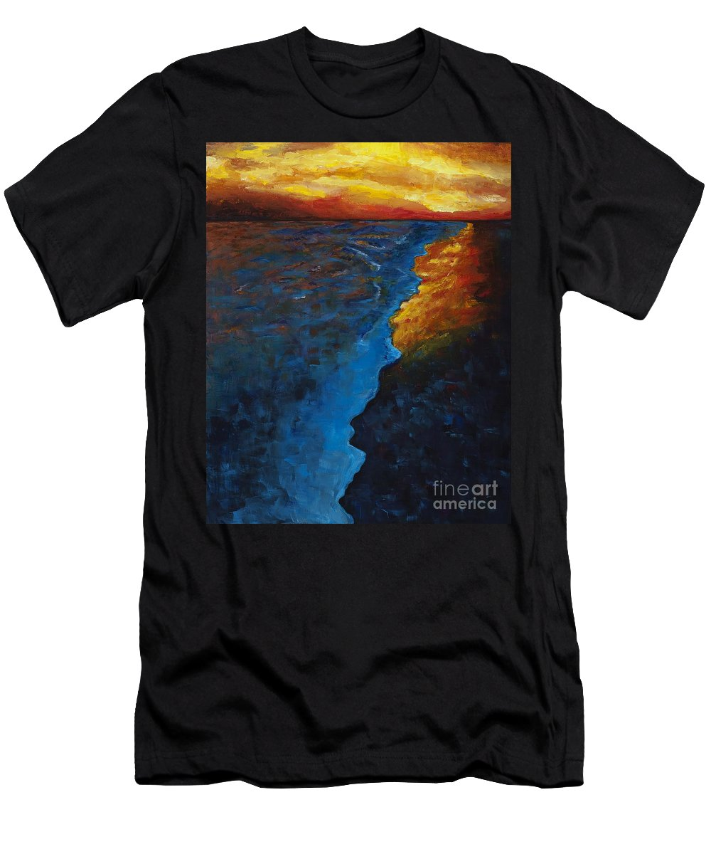 Abstract Ocean Men's T-Shirt (Athletic Fit) featuring the painting Ocean Sunset by Frances Marino