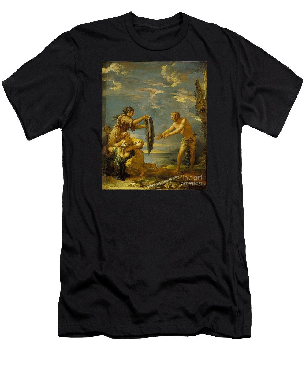 Odysseus And Nausicaa Men's T-Shirt (Athletic Fit) featuring the painting Odysseus And Nausicaa by MotionAge Designs