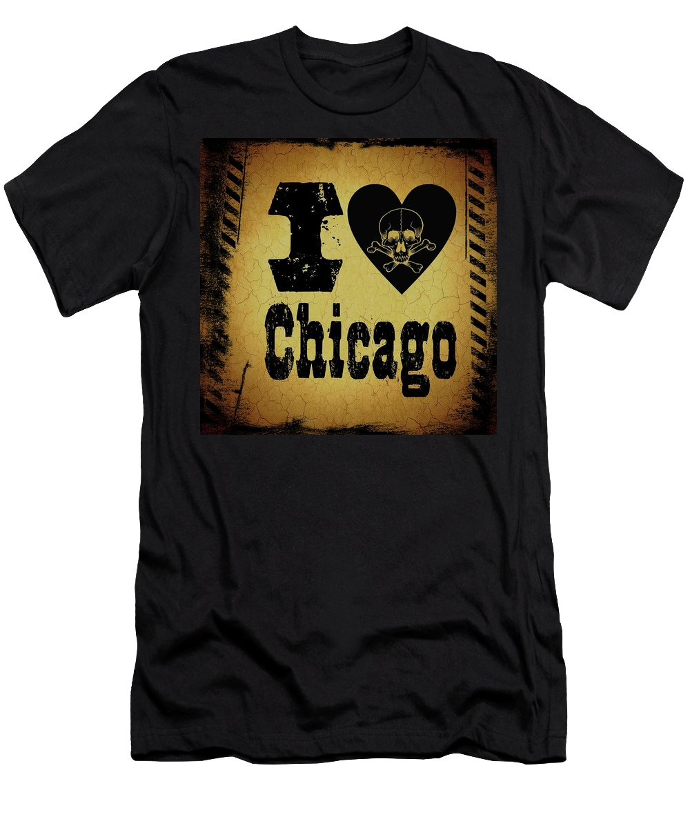 Chicago Men's T-Shirt (Athletic Fit) featuring the digital art Old Chicago by Randolph Ping