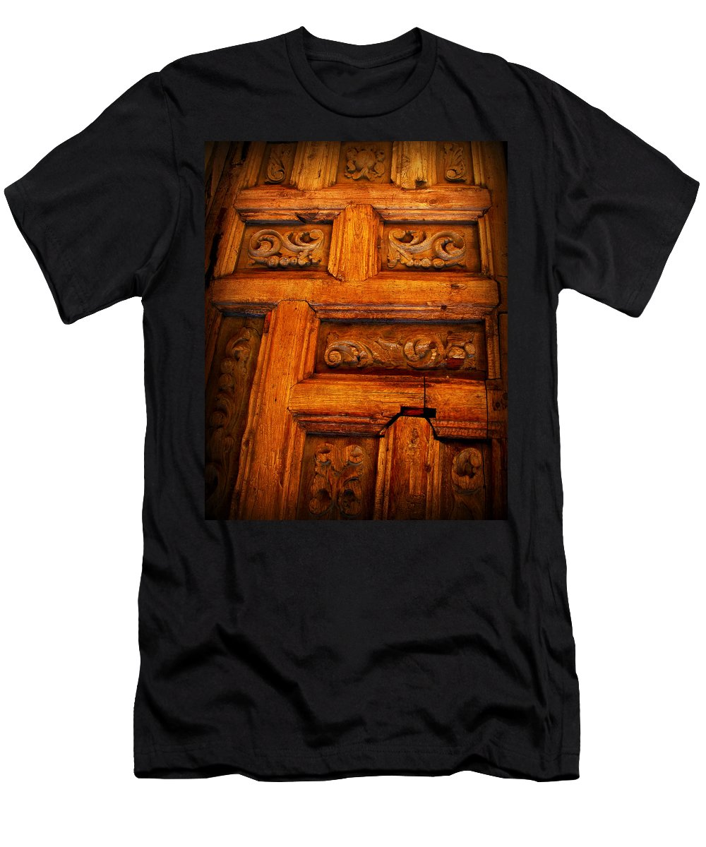 Door Men's T-Shirt (Athletic Fit) featuring the photograph Old Door by Perry Webster
