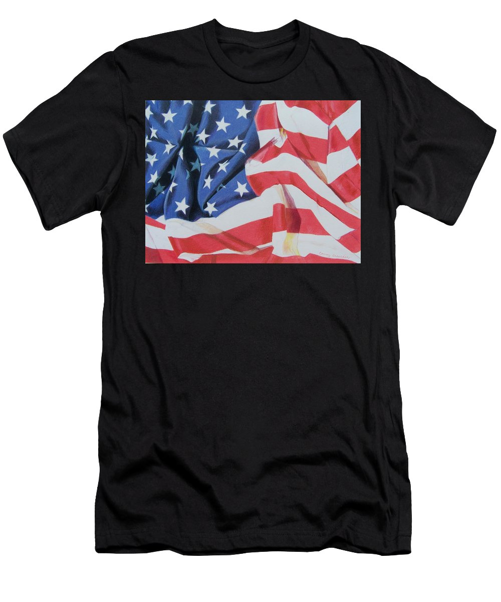 Flag Men's T-Shirt (Athletic Fit) featuring the mixed media Old Glory by Constance Drescher