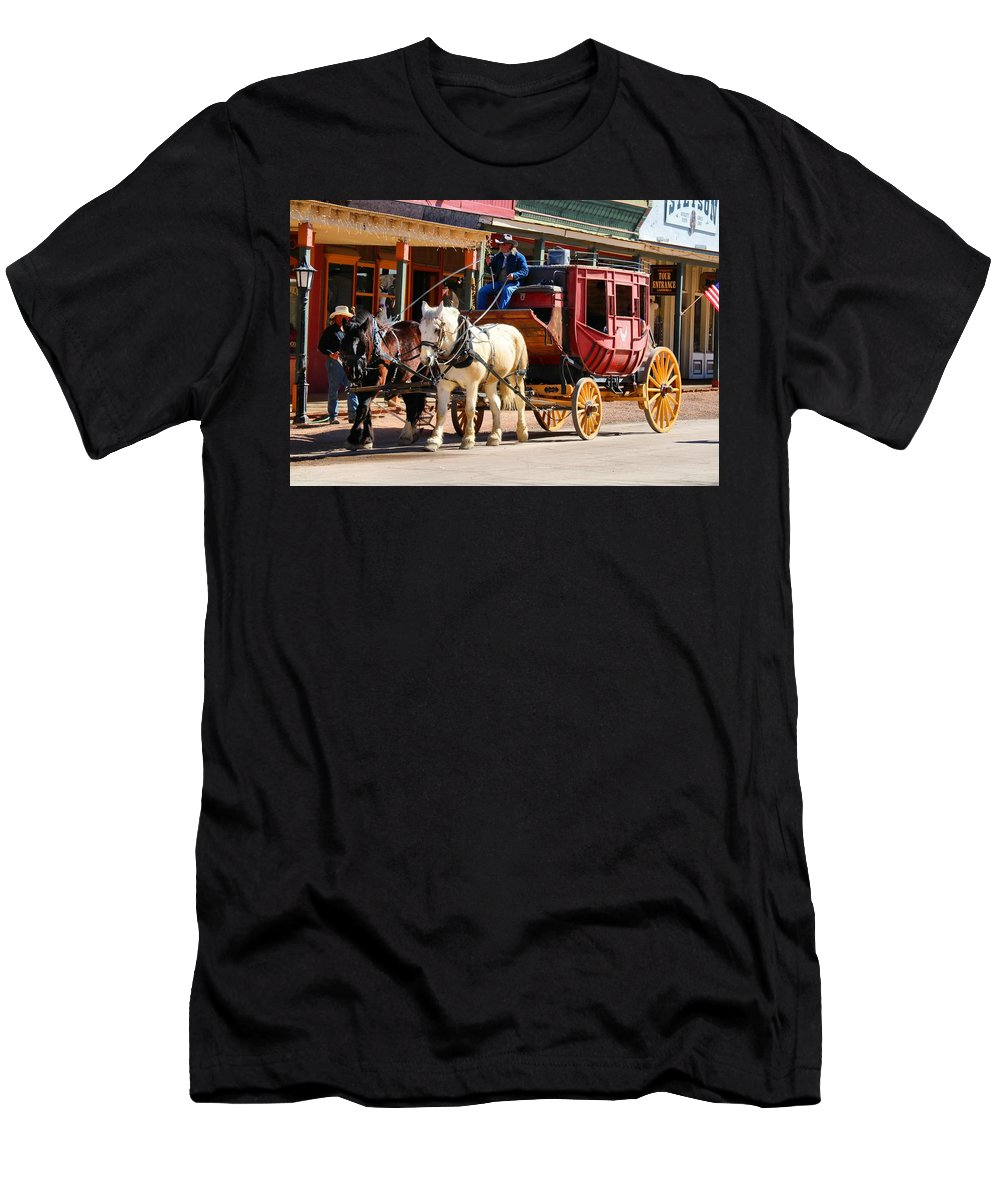 Tucson Men's T-Shirt (Athletic Fit) featuring the photograph Old Tucson Stagecoach by Kathryn Meyer