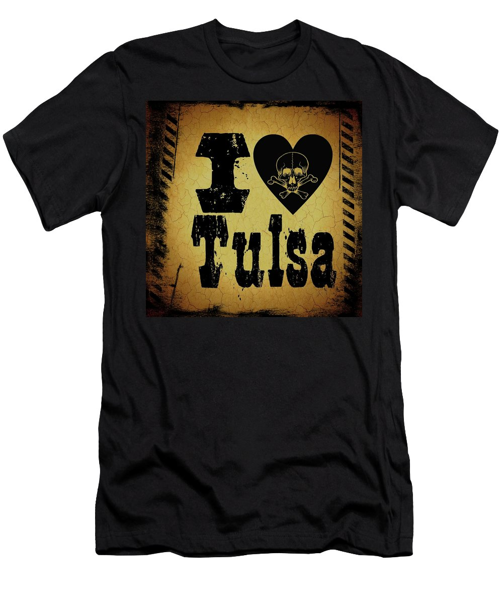 Tulsa Men's T-Shirt (Athletic Fit) featuring the digital art Old Tulsa by Randolph Ping