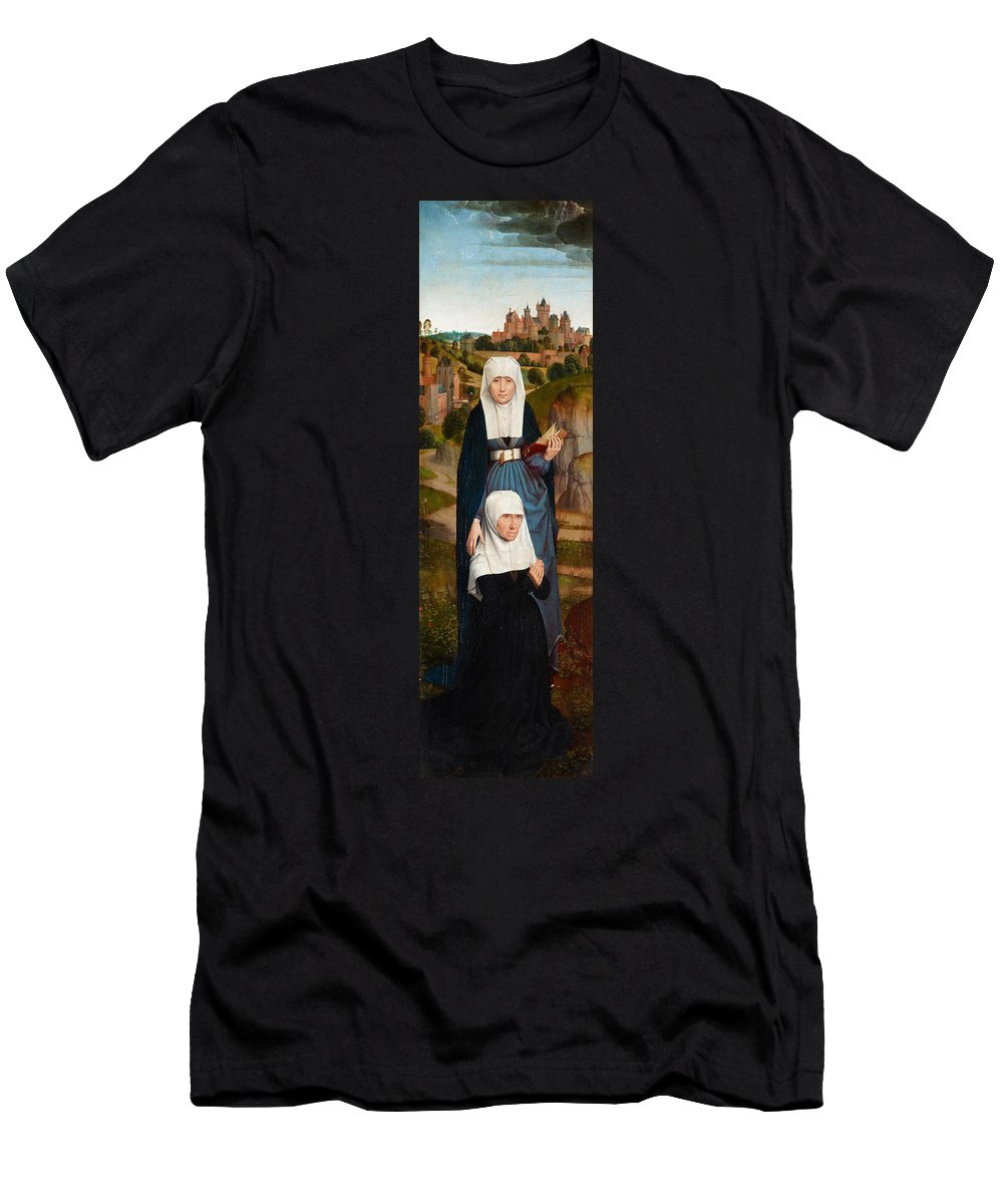 Ann Men's T-Shirt (Athletic Fit) featuring the painting Old Woman At Prayer With St. Anne by Hans Memling