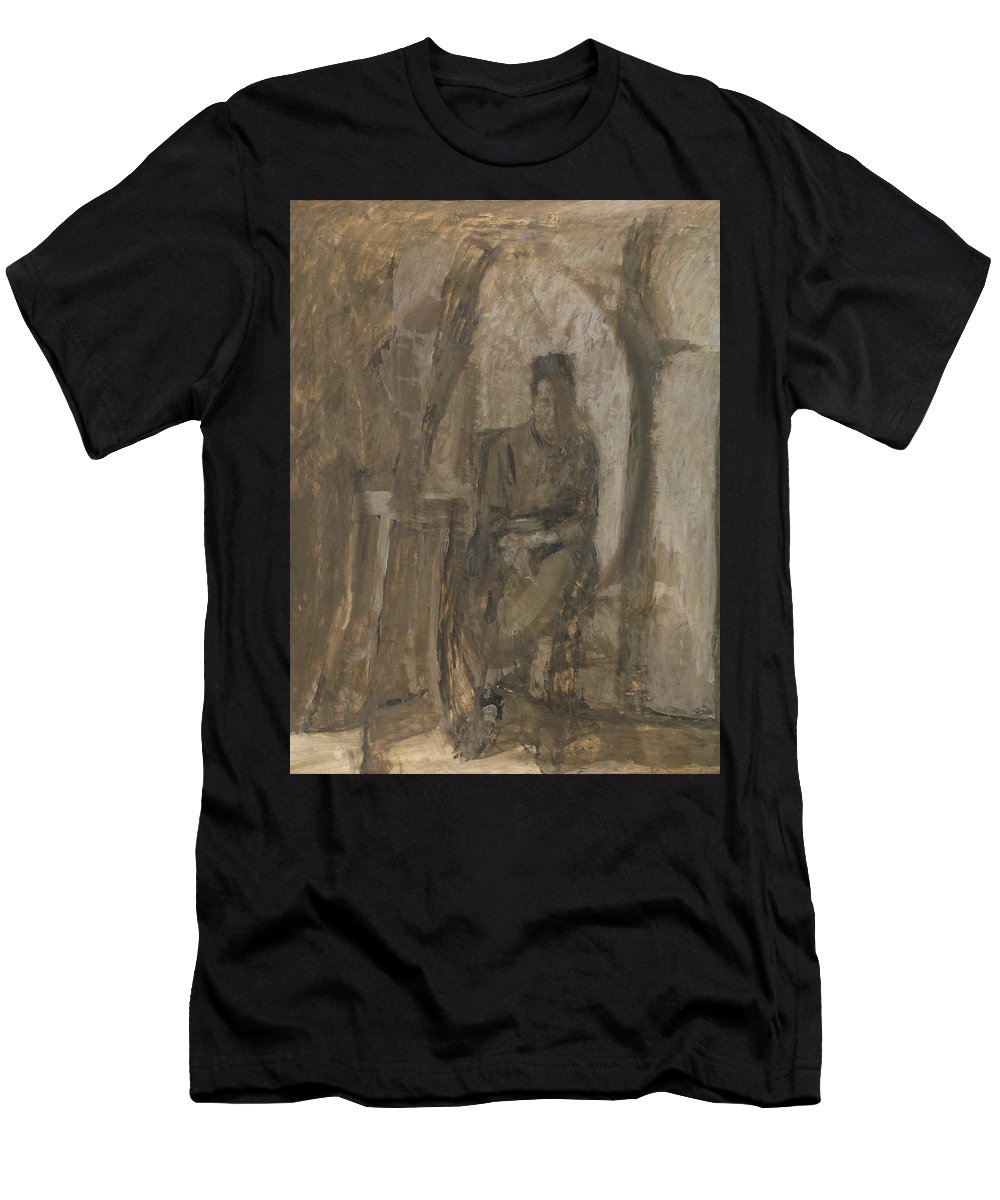 Portrait Men's T-Shirt (Athletic Fit) featuring the painting Old Woman by Robert Nizamov