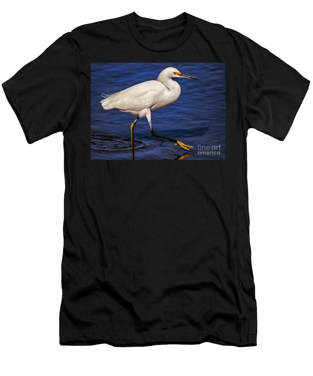 Snowy Egret Men's T-Shirt (Athletic Fit) featuring the photograph One Step At A Time by Paulette Thomas