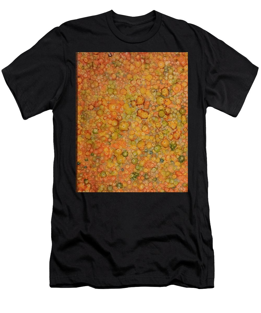 Alcohol Ink Prints Men's T-Shirt (Athletic Fit) featuring the painting Orange Craze by Betsy Carlson Cross