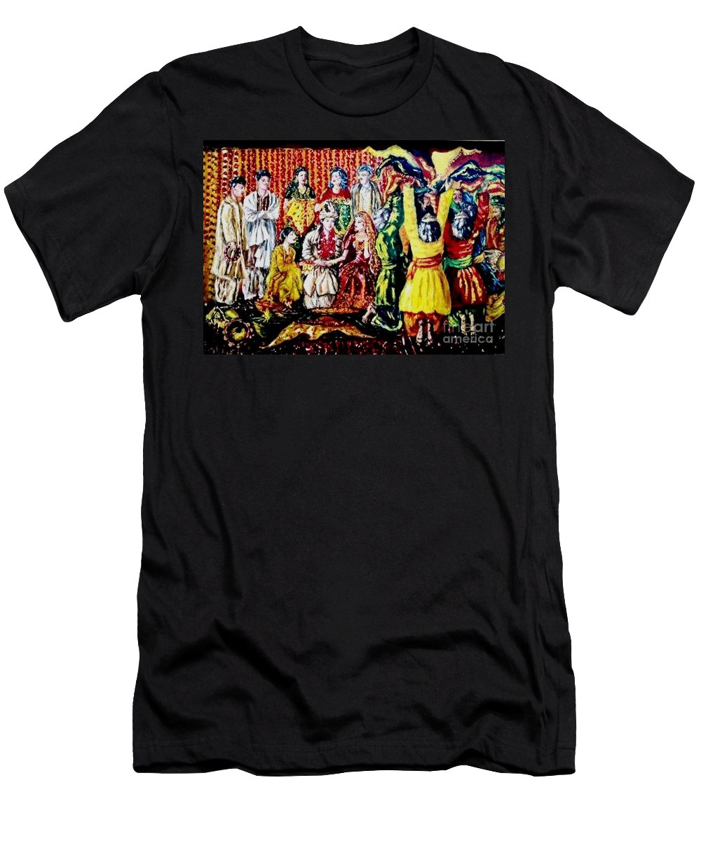 Oil Painting Men's T-Shirt (Athletic Fit) featuring the painting Pakistani Wedding by Fareeha Khawaja