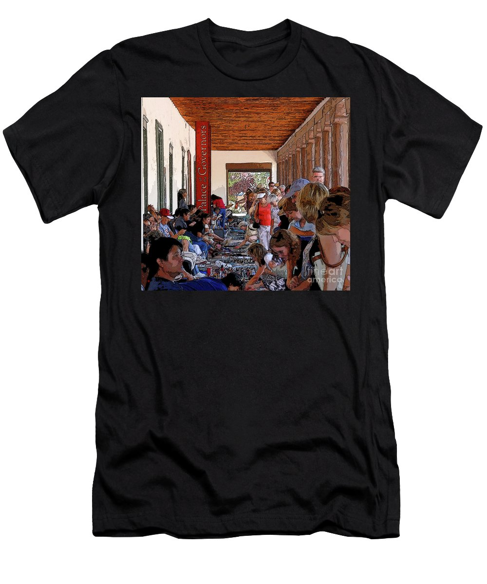 Art Men's T-Shirt (Athletic Fit) featuring the painting Palace Of The Governors by David Lee Thompson