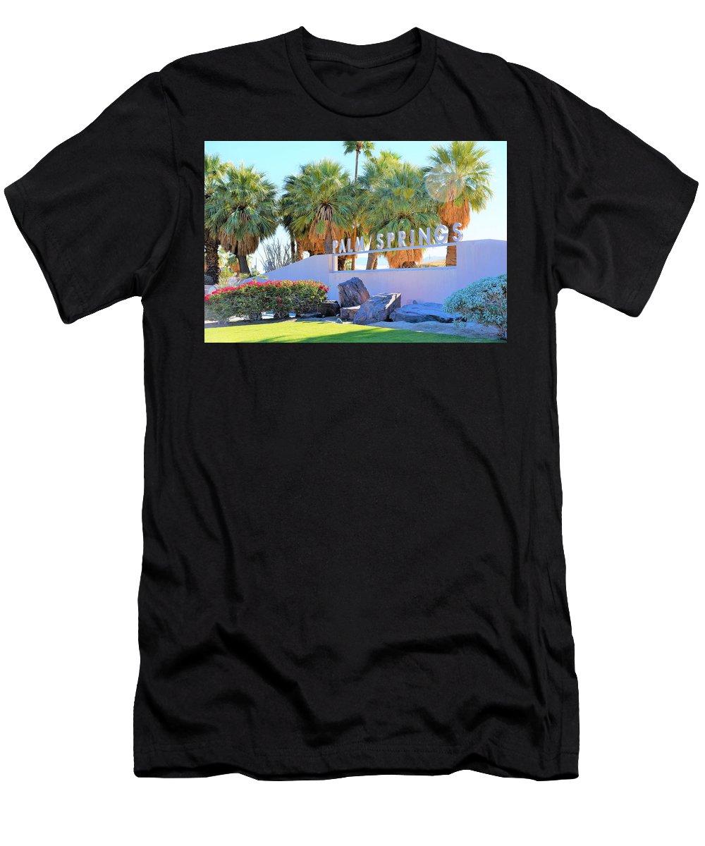 Palm Springs Welcome Men's T-Shirt (Athletic Fit) featuring the photograph Palm Springs Welcome by Lisa Dunn