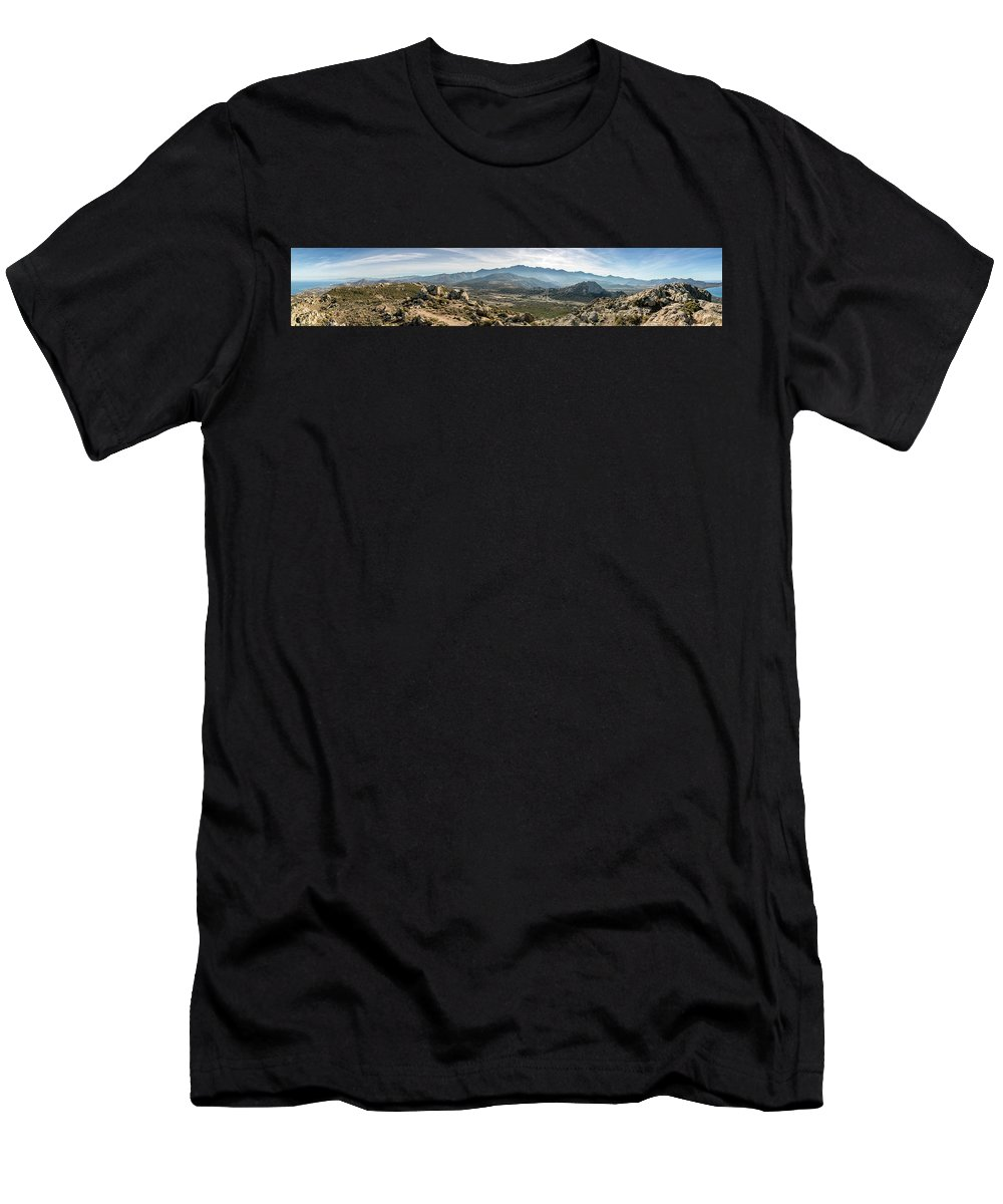 Balagne Men's T-Shirt (Athletic Fit) featuring the photograph Panoramic View Of Monte Grosso And The Mountains Of Corsica by Jon Ingall
