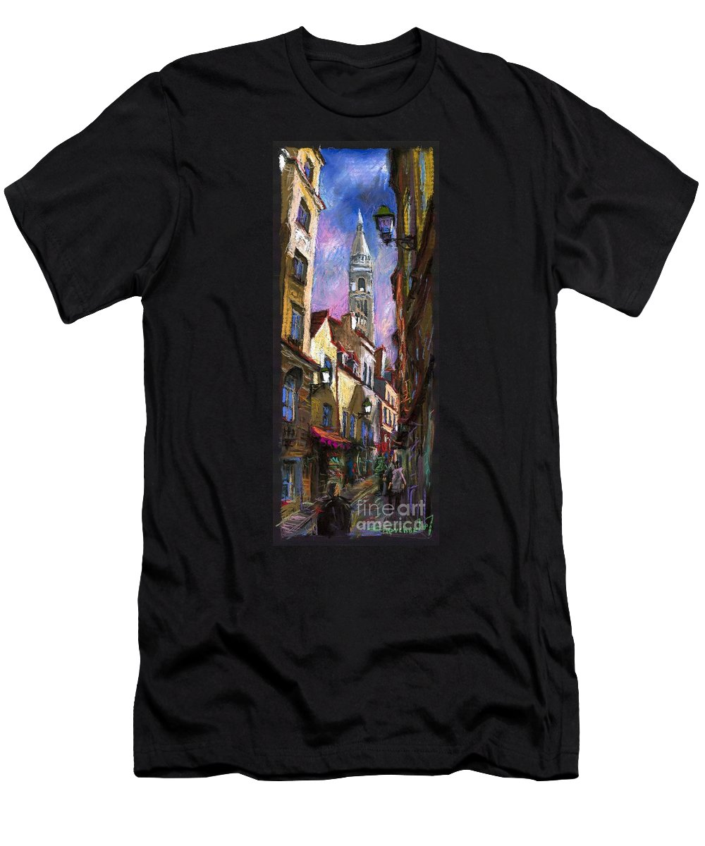 Pastel Men's T-Shirt (Athletic Fit) featuring the painting Paris Montmartre by Yuriy Shevchuk