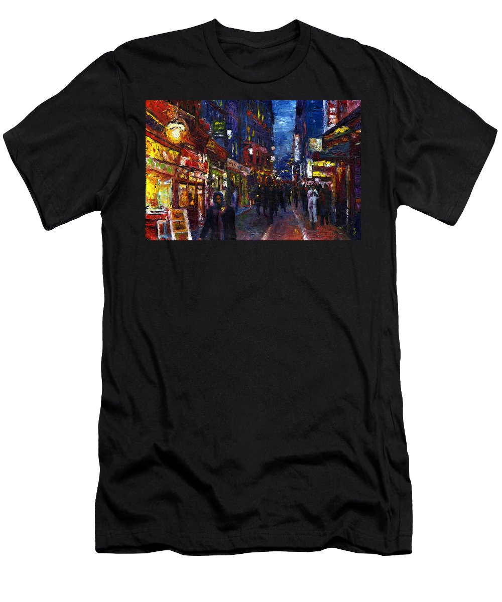 Oil Men's T-Shirt (Athletic Fit) featuring the painting Paris Quartier Latin 01 by Yuriy Shevchuk