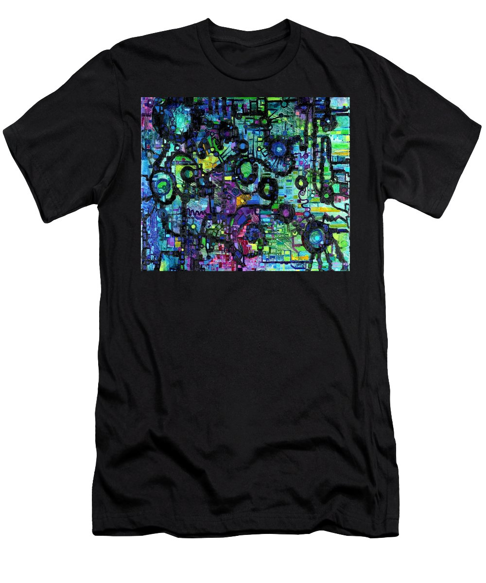 Percolation Men's T-Shirt (Athletic Fit) featuring the painting Percolation On A Lattice by Regina Valluzzi