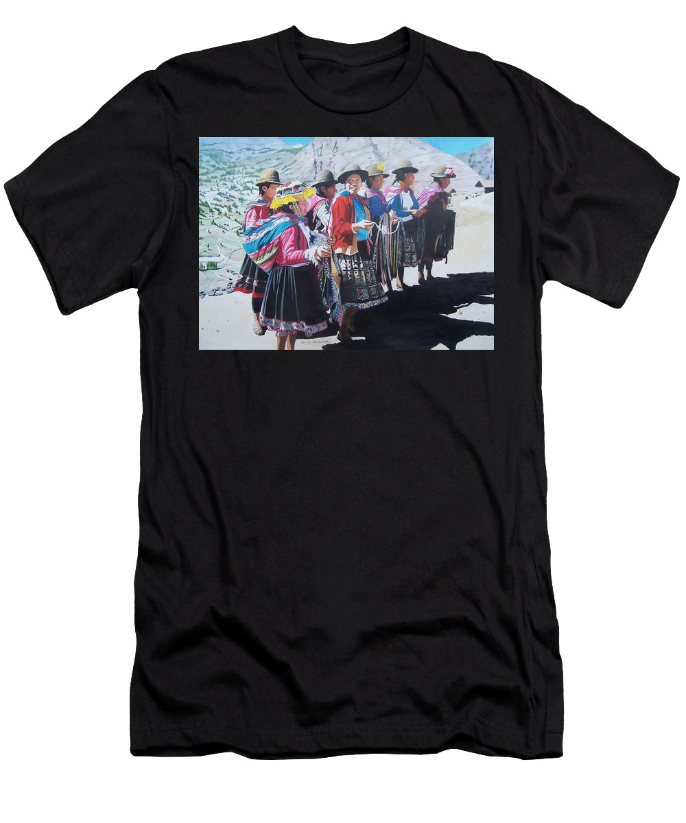 Outdoors Men's T-Shirt (Athletic Fit) featuring the mixed media Peruvian Ladies by Constance Drescher