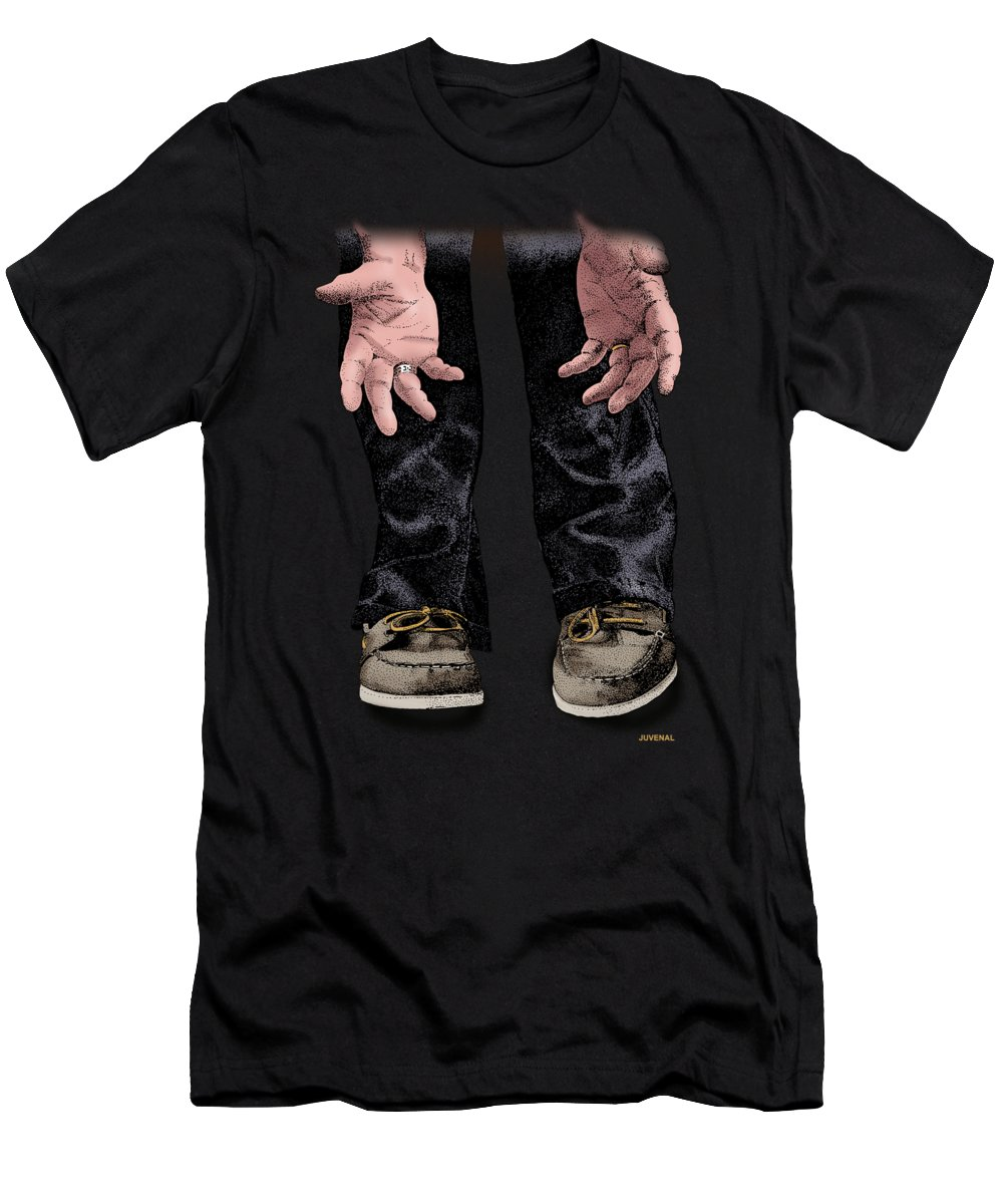 T-shirt Men's T-Shirt (Athletic Fit) featuring the drawing Pick Me Up Daddy by Joseph Juvenal