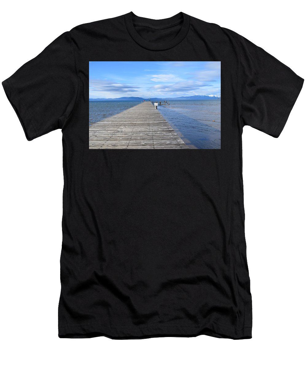 Lake Men's T-Shirt (Athletic Fit) featuring the photograph Pier by Christina McNee-Geiger