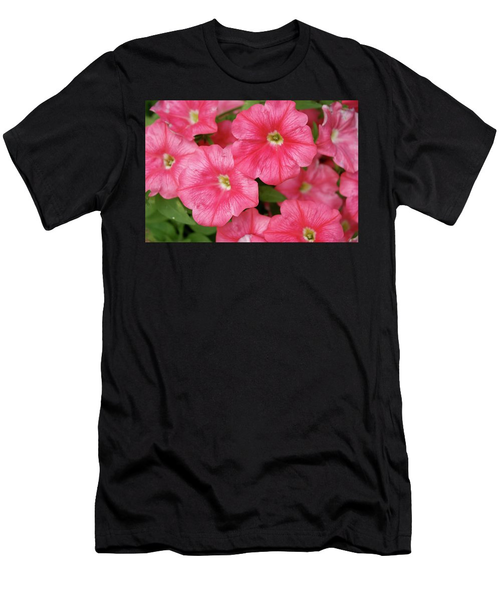 Pink Men's T-Shirt (Athletic Fit) featuring the photograph Pink Petunias by Nancy Aurand-Humpf