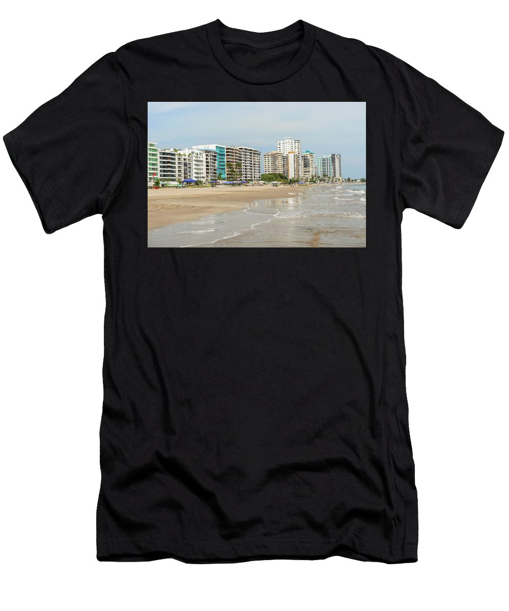 Beach Men's T-Shirt (Athletic Fit) featuring the photograph Playa De Chipipe In Salinas, Ecuador by Marek Poplawski