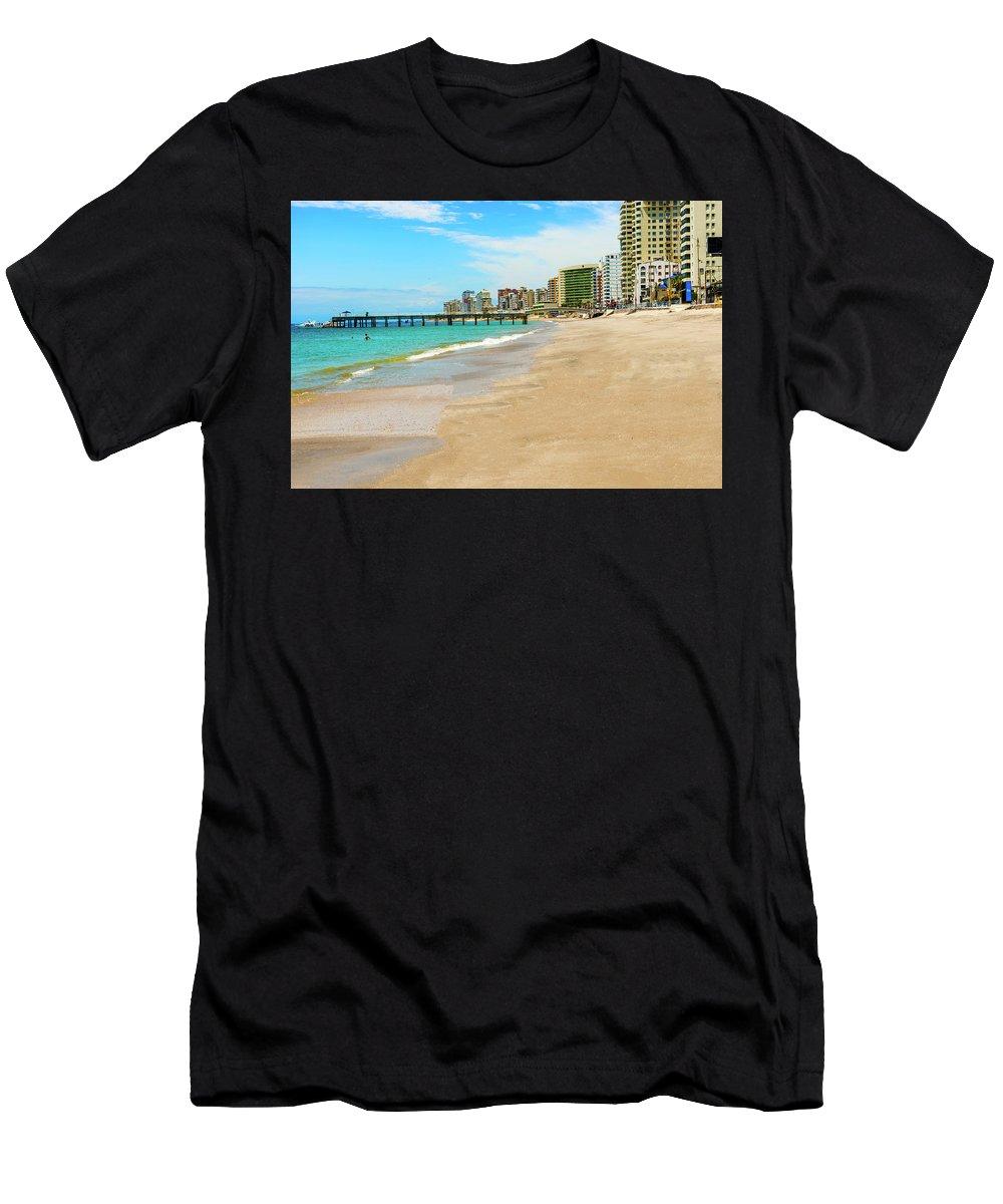 Salinas Men's T-Shirt (Athletic Fit) featuring the photograph Playa De San Lorenzo In Salinas, Ecuador by Marek Poplawski