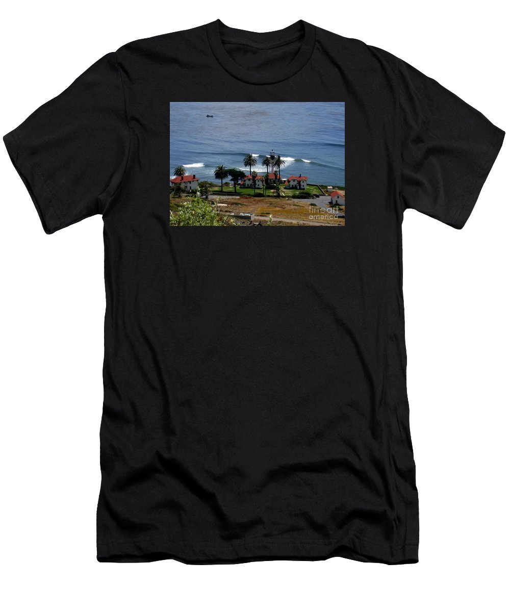 San Diego Lighthouse Men's T-Shirt (Athletic Fit) featuring the photograph Point Loma Lighthouse 2 by Marta Robin Gaughen