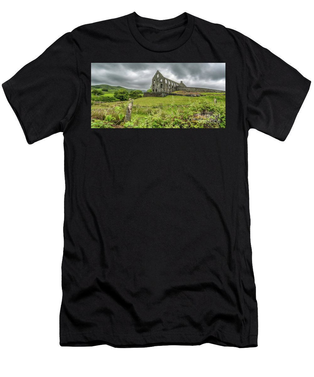 Slate Mill Men's T-Shirt (Athletic Fit) featuring the photograph Pont Y Pandy Mill by Adrian Evans