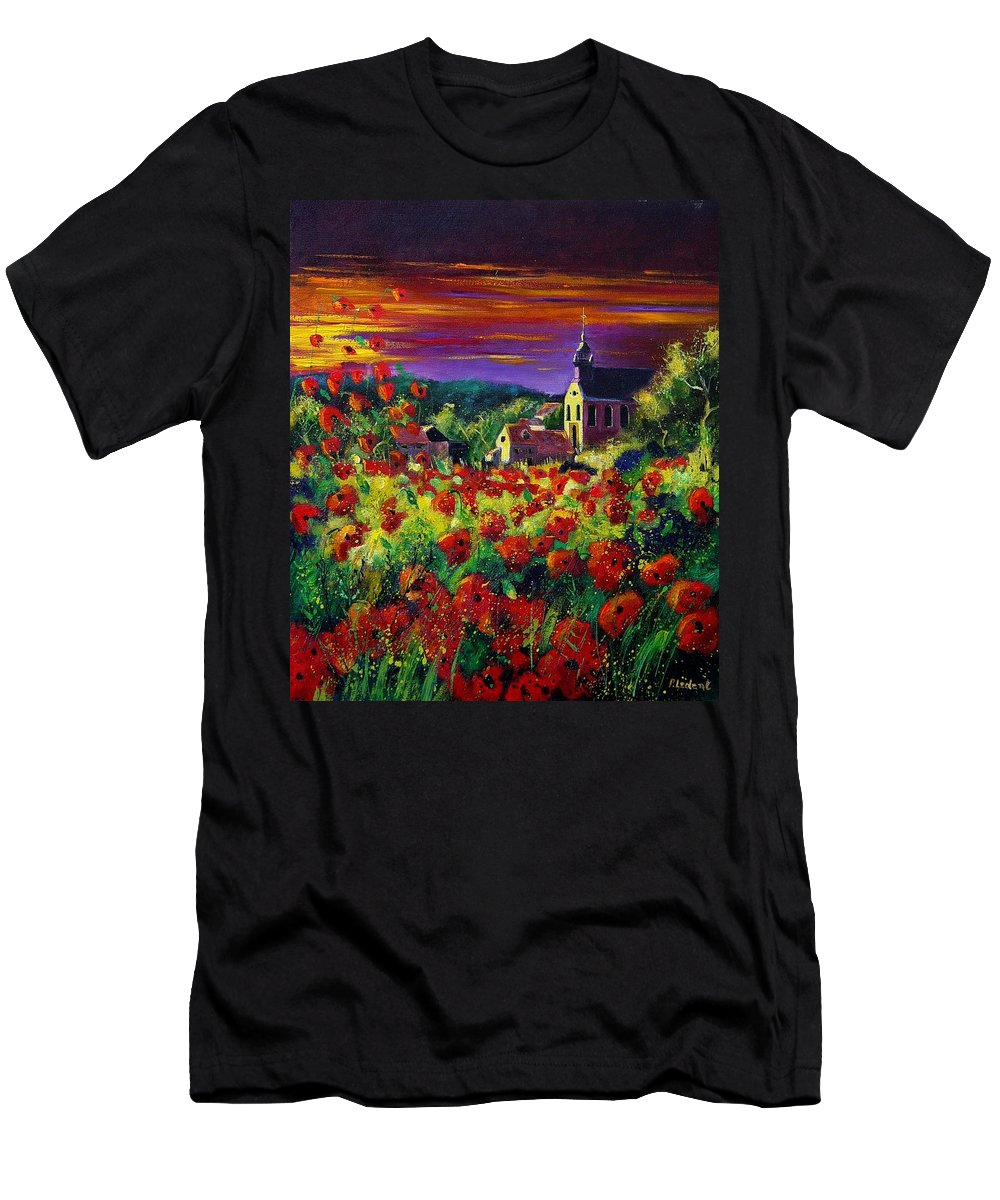 Flowers Men's T-Shirt (Athletic Fit) featuring the painting Poppies In Foy by Pol Ledent
