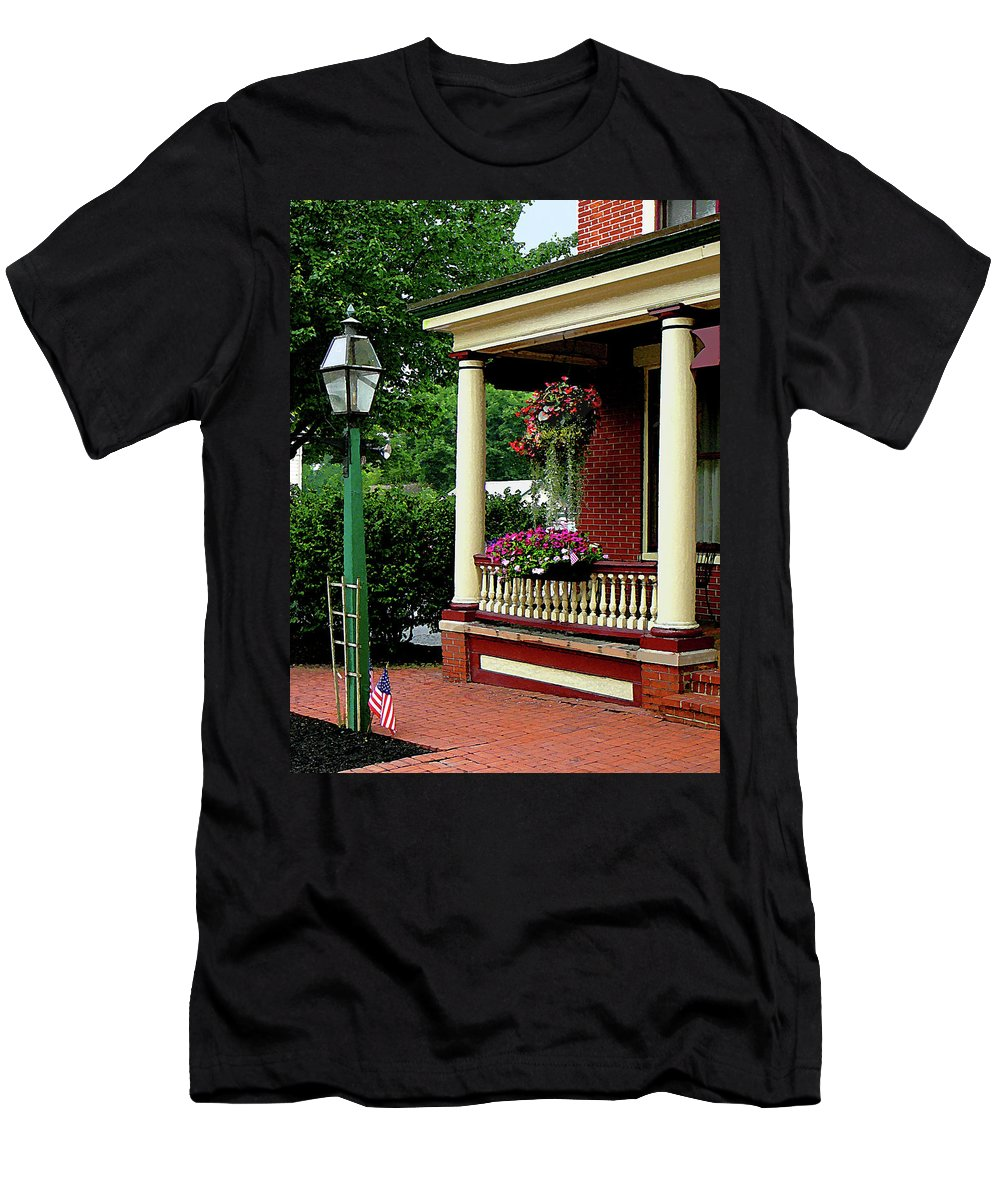 Porch Men's T-Shirt (Athletic Fit) featuring the photograph Porch With Hanging Plants by Susan Savad