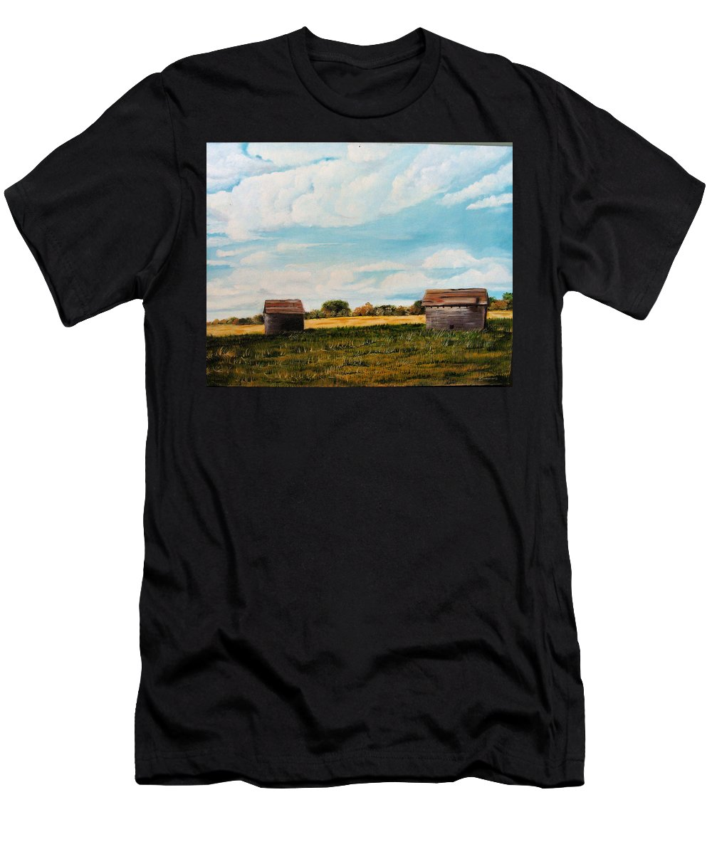 Homestead Men's T-Shirt (Athletic Fit) featuring the painting Prairie Homestead by Jeannette Sommers