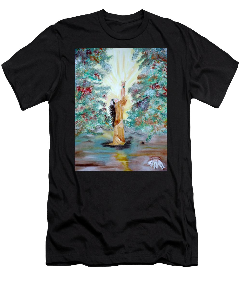 Native American Men's T-Shirt (Athletic Fit) featuring the painting Praying by Lynne Messeck