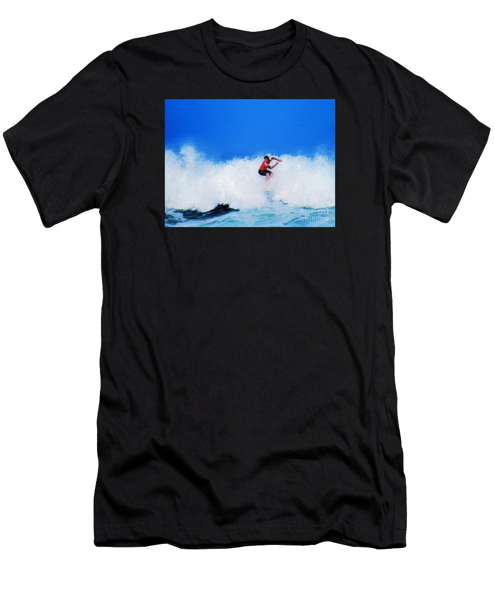 Professional-surfer-surfers Men's T-Shirt (Athletic Fit) featuring the photograph Pro Surfer Alex Ribeiro by Scott Cameron