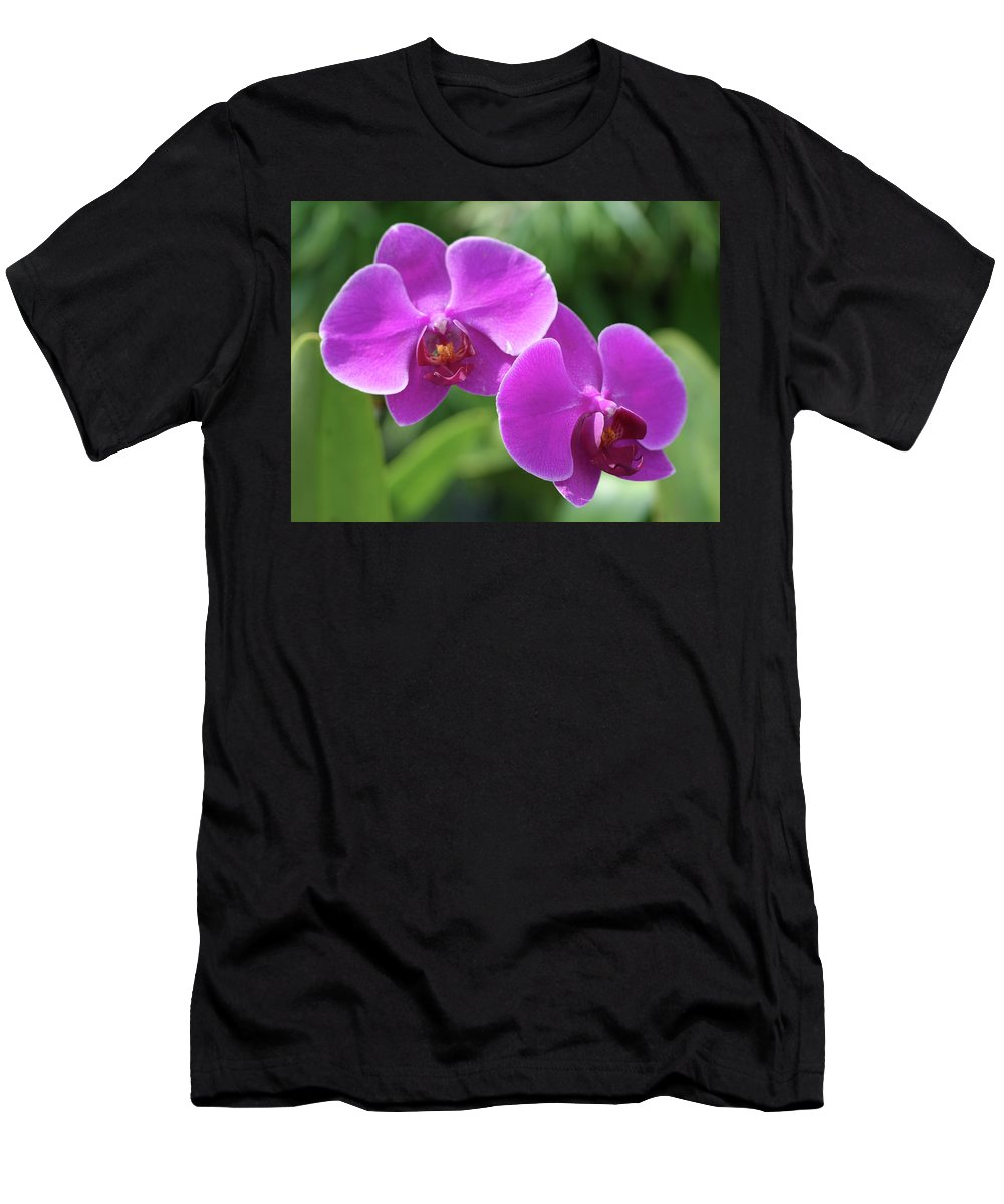 Orchids Men's T-Shirt (Athletic Fit) featuring the photograph Purple Orchids by Nancy Aurand-Humpf