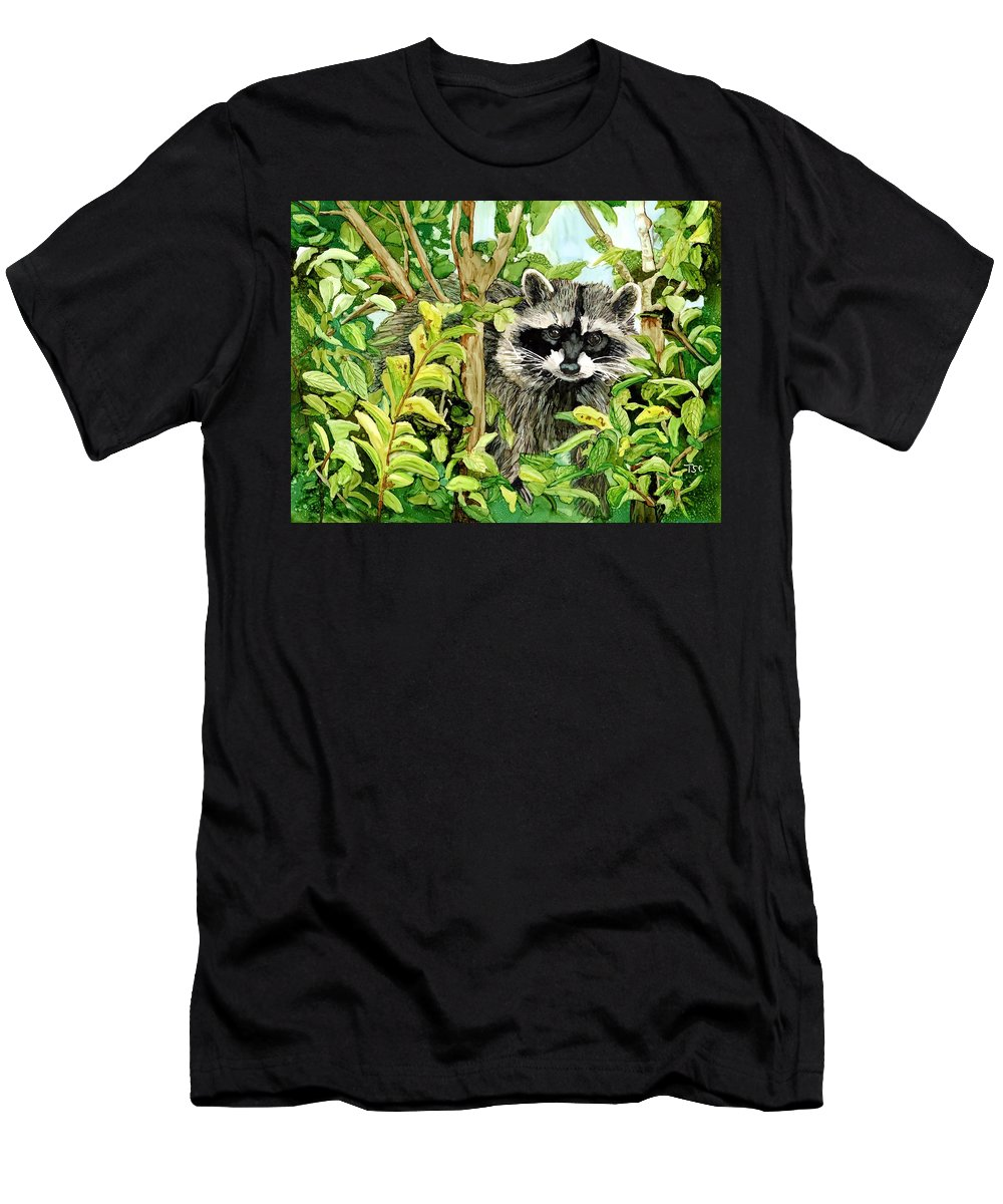 Raccoon Men's T-Shirt (Athletic Fit) featuring the painting Raccoon by Tammy Crawford