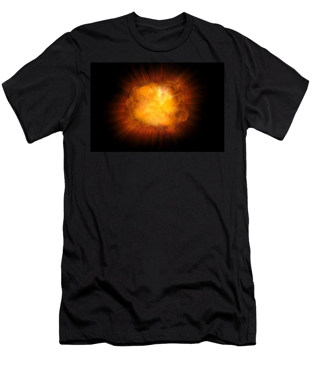 Fire Men's T-Shirt (Athletic Fit) featuring the photograph Realistic Fire Explosion, Orange Color With Sparks Isolated On Black Background by Lukasz Szczepanski