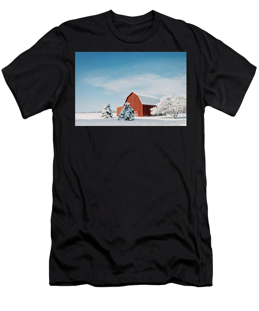 Barn Men's T-Shirt (Athletic Fit) featuring the photograph Red Barn With Snow by Michael Shake