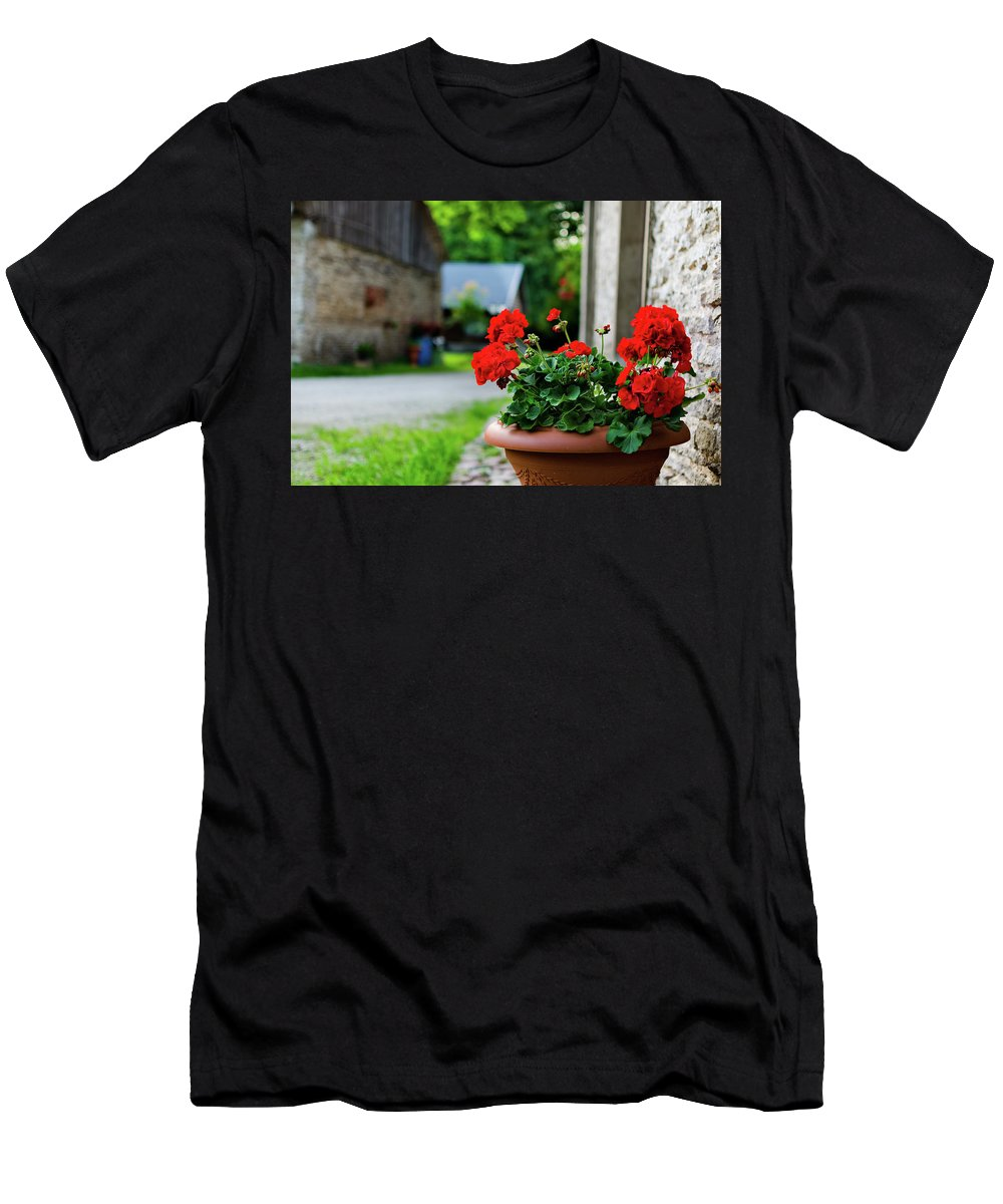 Green Men's T-Shirt (Athletic Fit) featuring the photograph Red Garden Geranium Flowers In Pot , Close Up Shot / Geranium Fl by Maya Afzaal