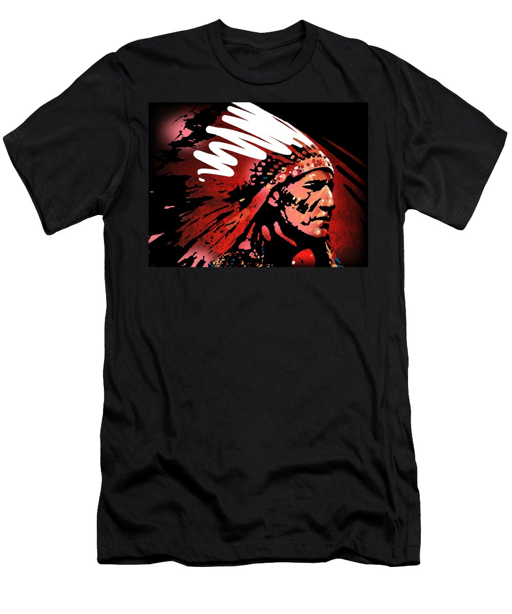 Native American T-Shirt featuring the painting Red Pipe by Paul Sachtleben