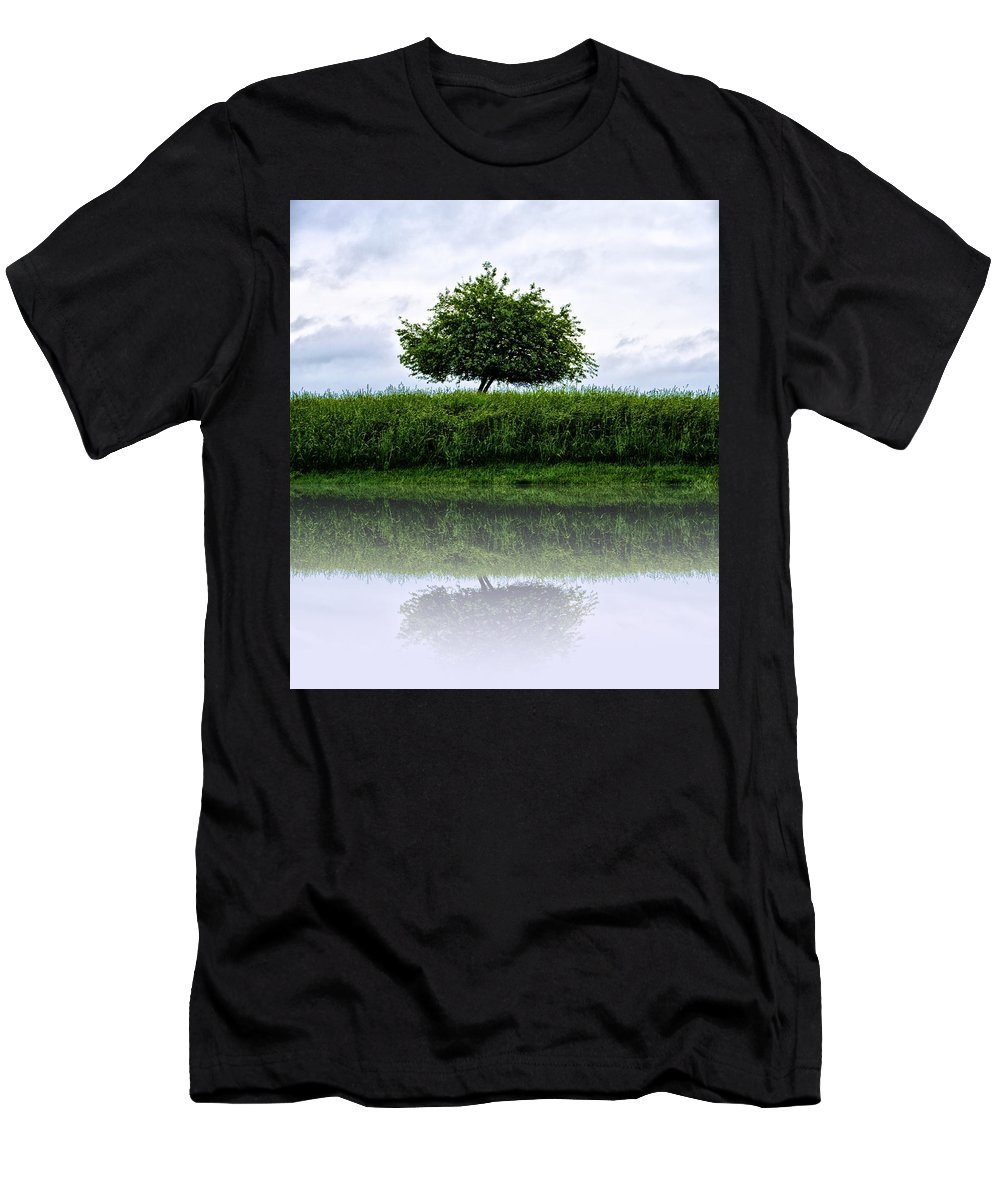 Reflecting Men's T-Shirt (Athletic Fit) featuring the photograph Reflecting Tree by Bill Cannon