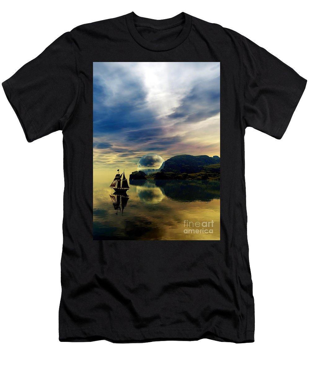 Sandrabauser Men's T-Shirt (Athletic Fit) featuring the digital art Reflection Bay by Sandra Bauser Digital Art