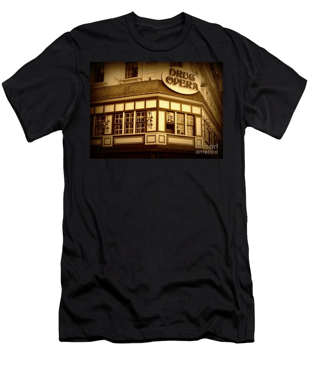 Drug Opera Men's T-Shirt (Athletic Fit) featuring the photograph Restaurant Sign In Brussels by Carol Groenen