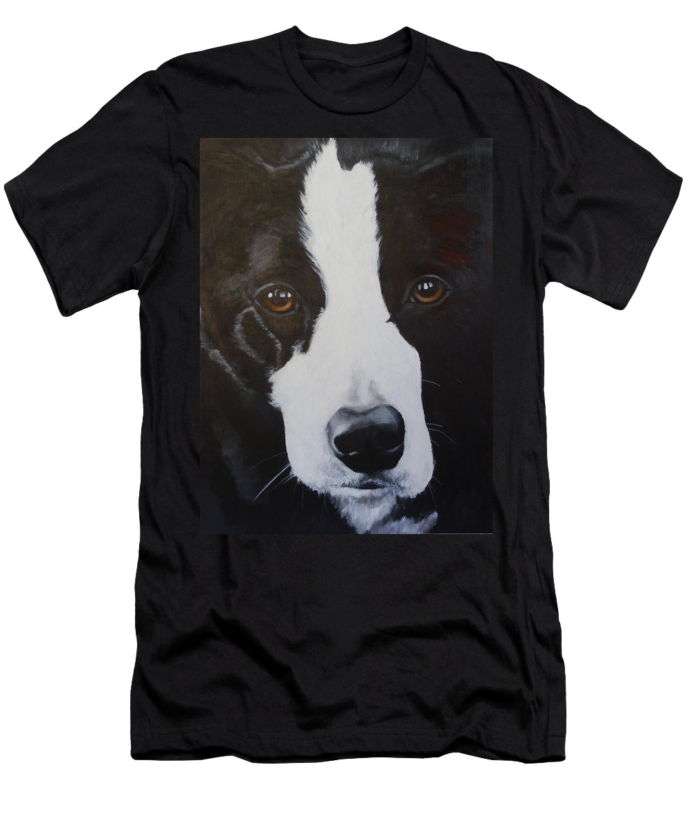 Border Collie Men's T-Shirt (Athletic Fit) featuring the painting River by Carol Russell