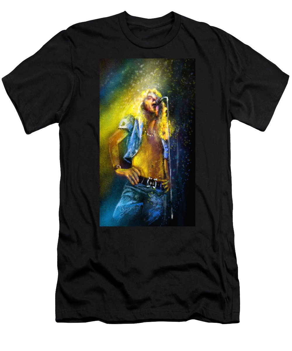Music T-Shirt featuring the painting Robert Plant 01 by Miki De Goodaboom