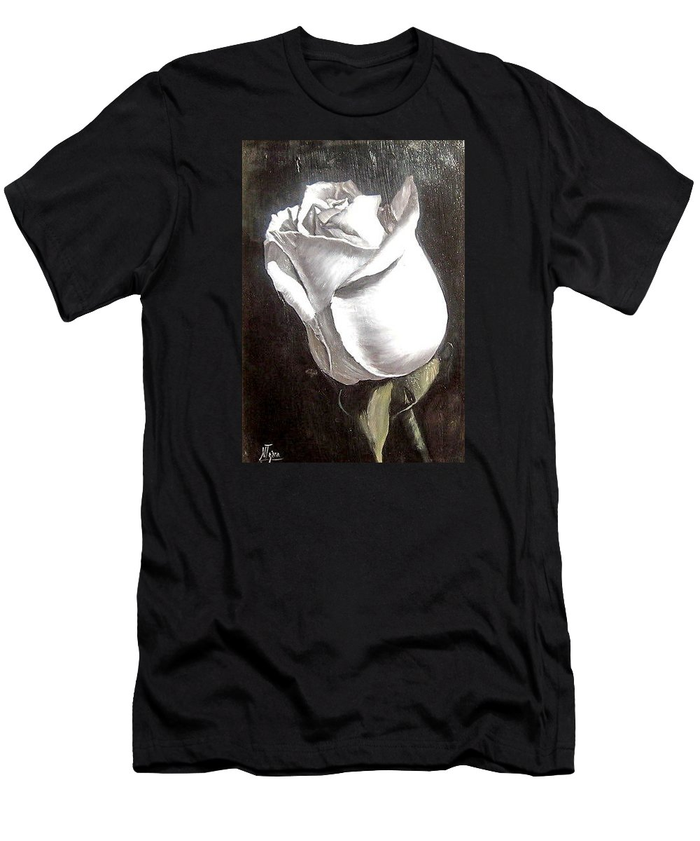 Flower Rose Still Life Men's T-Shirt (Athletic Fit) featuring the painting Rose 2 by Natalia Tejera