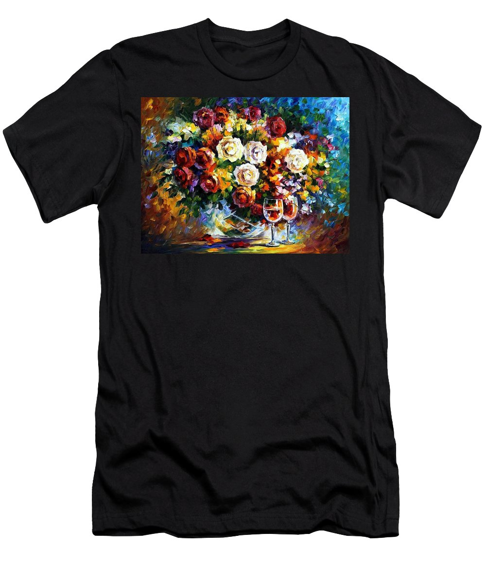 Afremov Men's T-Shirt (Athletic Fit) featuring the painting Roses And Wine by Leonid Afremov