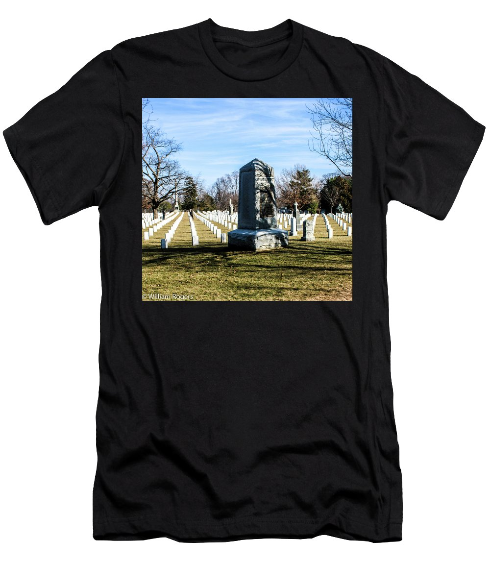 The Rough Riders Monument At Arlington National Cemetery Was Men's T-Shirt (Athletic Fit) featuring the photograph Rough Riders by William Rogers