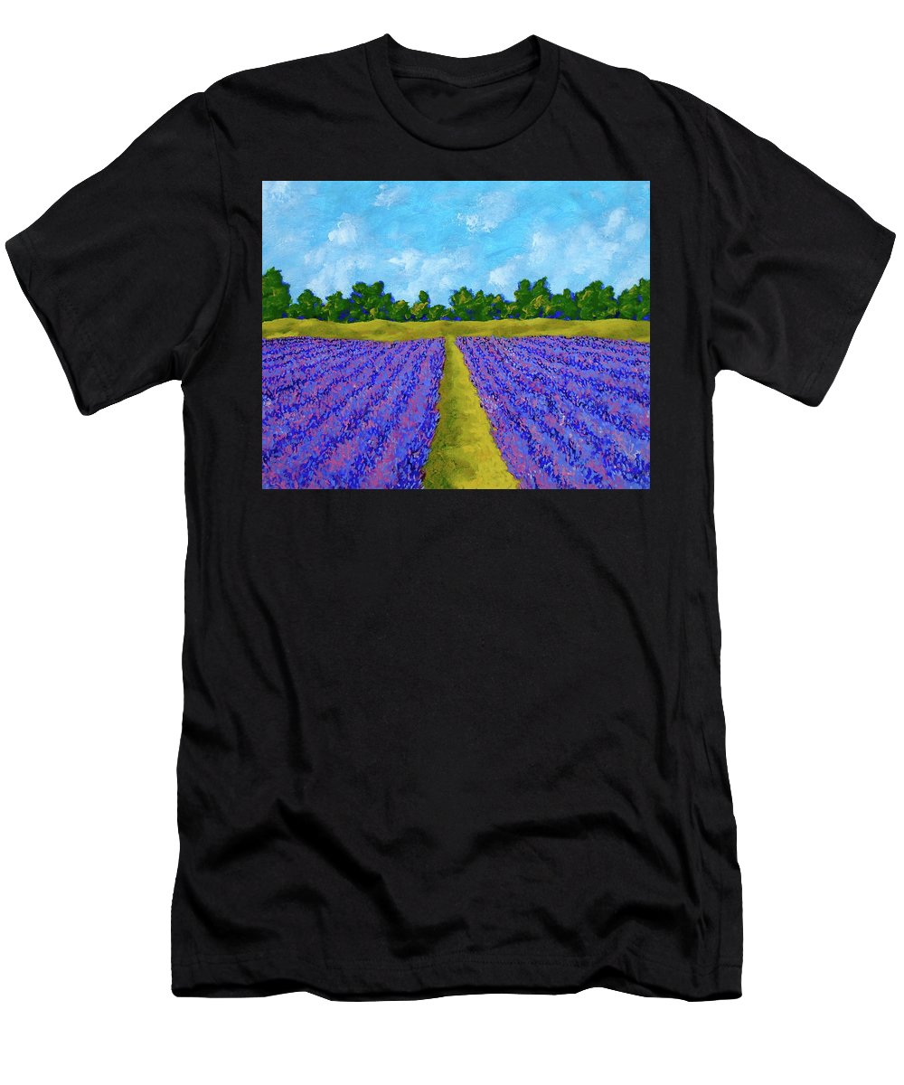 Acrylic Men's T-Shirt (Athletic Fit) featuring the painting Rows Of Lavender In Provence by Mike Kraus