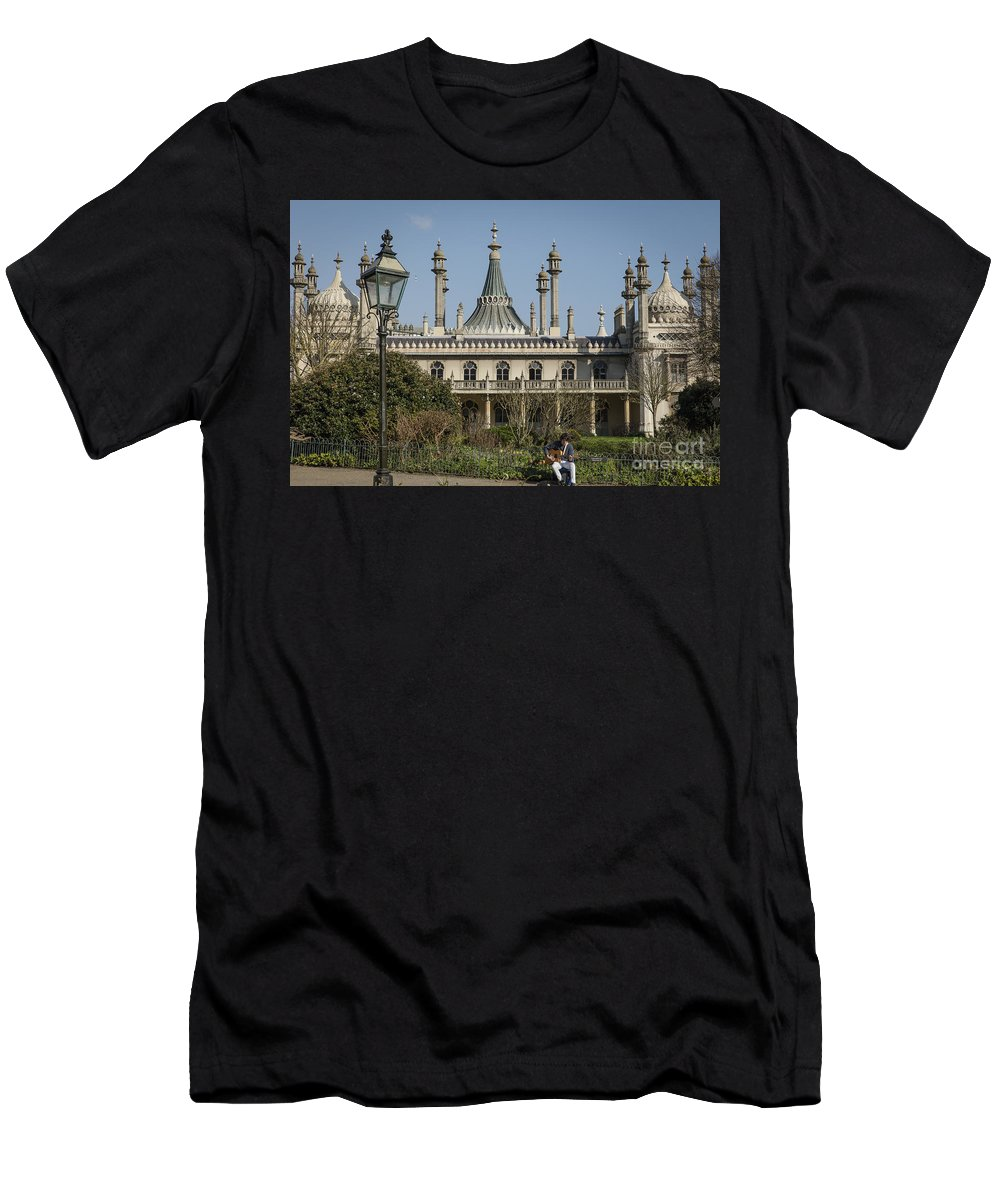Brighton Men's T-Shirt (Athletic Fit) featuring the photograph Royal Pavilion And Gardens In Brighton by Philip Pound