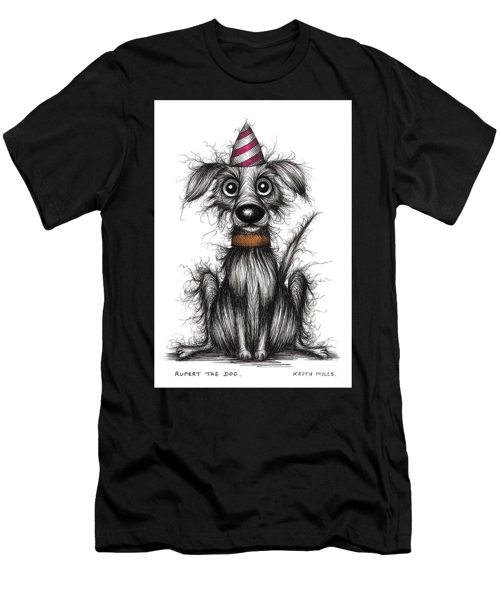 Rupert Men's T-Shirt (Athletic Fit) featuring the drawing Rupert The Dog by Keith Mills